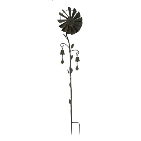 Metal Windmill Garden Twirler Wind Spinner Stake with Chimes ()