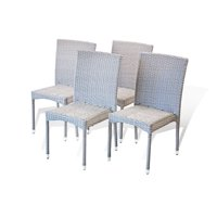 Set of 4 Patio Resin Outdoor Wicker Side Chairs Garden Deck Backyard, Gray