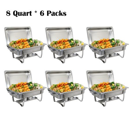 Zimtown (Pack of 6) 8 Quart Full Size Chafing Dishes Buffet, Food Grade Stainless Steel, Catering Chafer Warmer Set for for Weddings Parties Banquets Catering Events - Chafing Dish Warmers
