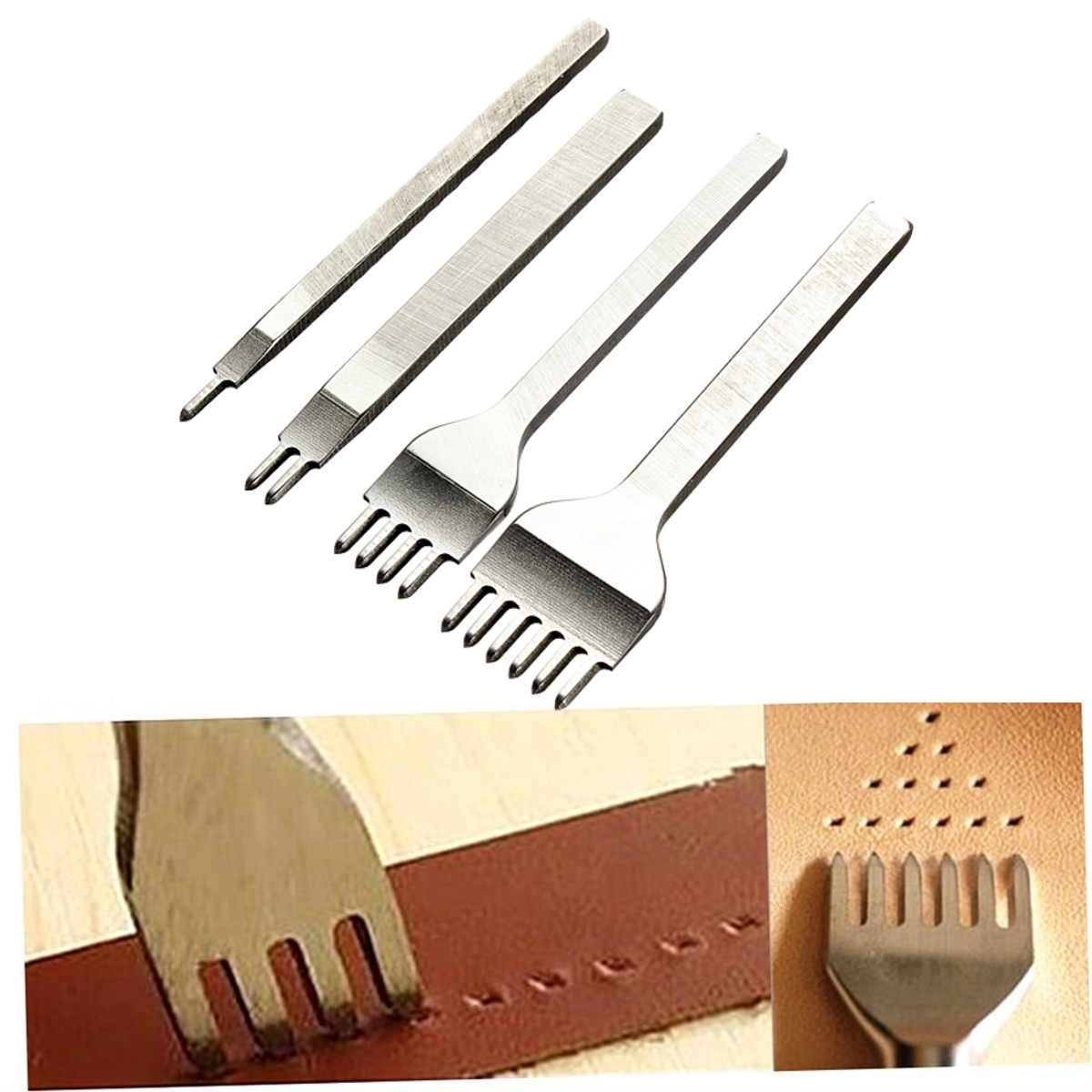 4 Style Leather Craft Tools Hole Punches Lacing Stitching Punch Tool Prong 4mm
