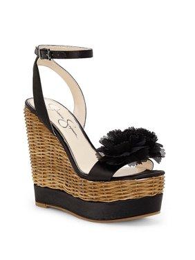 Jessica Simpson Pressa Women's Sandal Black Satin High Platform Wedge Sandals