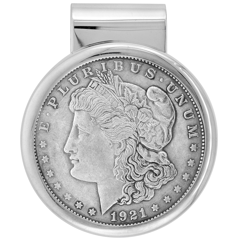 WorldJewels Sterling Silver Dollar Money Clip with Morgan...