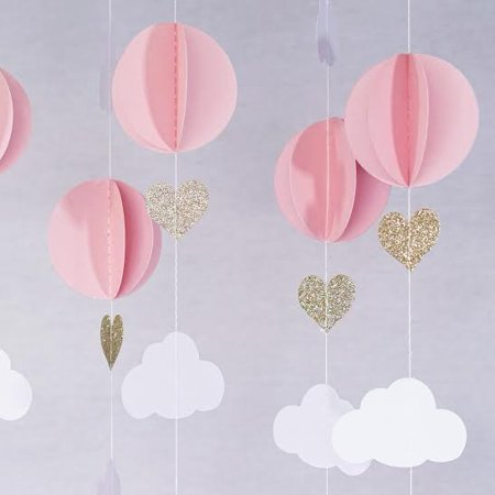 Pink White Gold Glitter Hot Air Balloon Hearts Cloud Baby Nursery Garland Banner Decoration - Hot Air Balloon Chandelier
