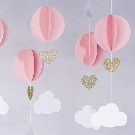 Pink White Gold Glitter Hot Air Balloon Hearts Cloud Baby Nursery Garland Banner Decoration - Toy Hot Air Balloon