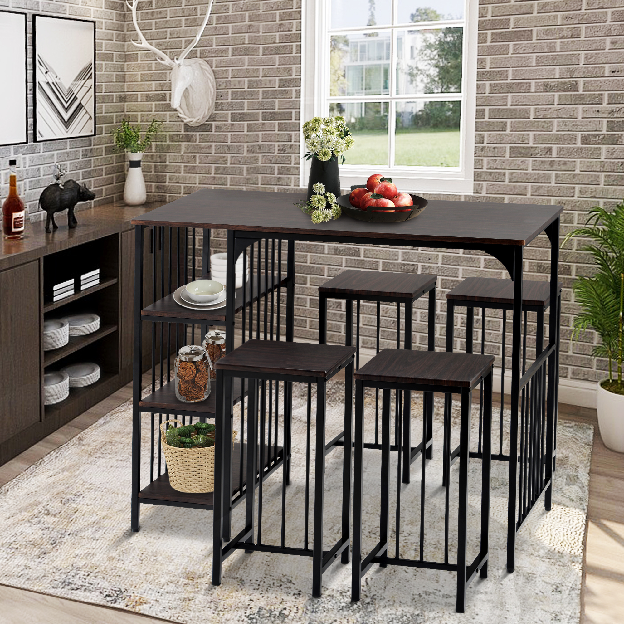 5 piece kitchen bar table set industrial metal counter