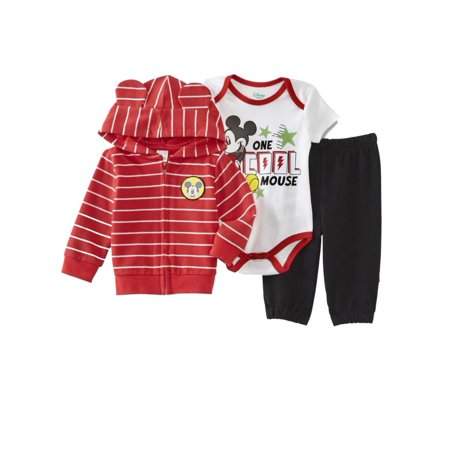 Infant Boys One Cool Mouse Baby Outfit Red Mickey Hoodie Bodysuit & Pants 0-3m