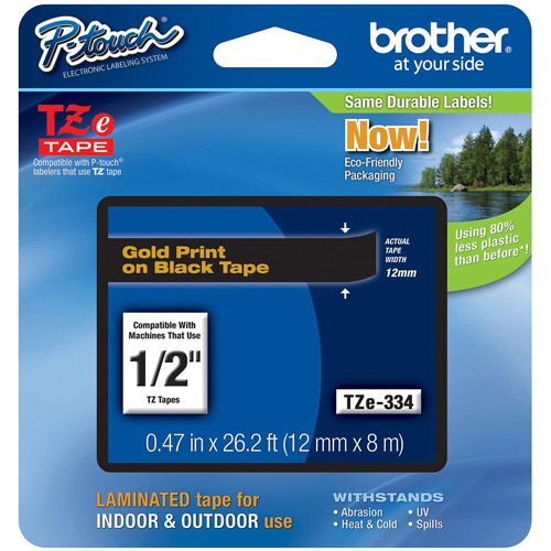 "Brother TZe334 1/2"" Tape, Gold/Black"