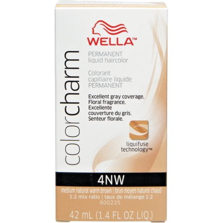Wella Color Charm Permanent Liquid Hair Color, Medium Natural Warm Brown [4NW] 1.40 oz