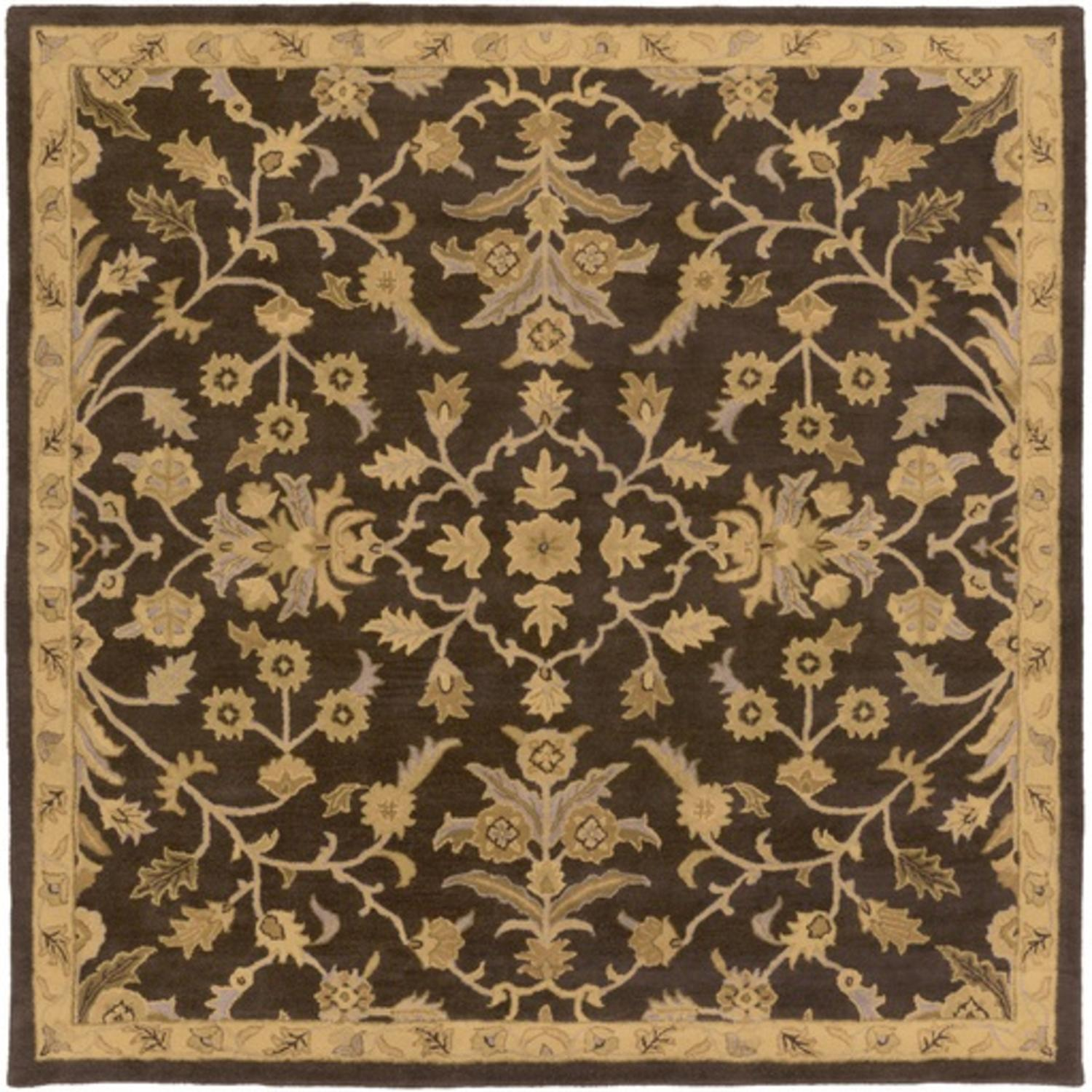 6' x 6' French Elegance Espresso, Gray and Gold Hand Tufted Wool Square Area Throw Rug