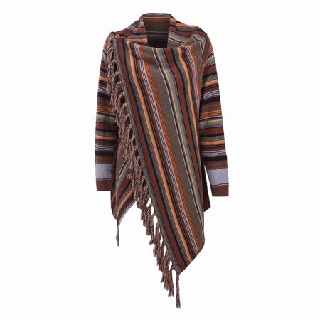 Akoyovwerve Women Irregular Tassel Stripes Shawl Coat, Autumn Winter Baggy Poncho Shawl Coat Outwear, Colorful
