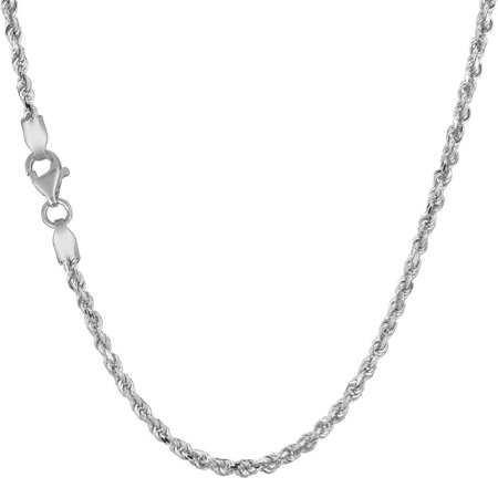 "Solid 14K White Gold 2.5mm Diamond Cut Rope Chain Necklace 16"" 18"" 20"" 22"" 24"" 30"""