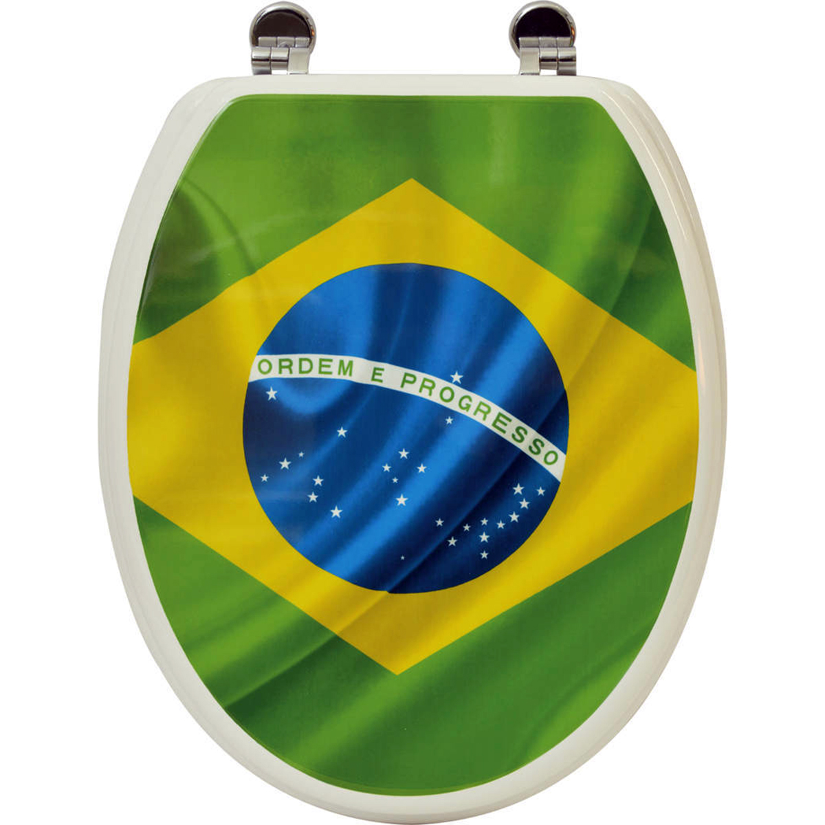 Printed Design Oval Elongated Toilet Seat With Adjustable Zinc Hinges Brazil