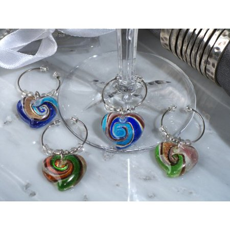Murano Art Deco Collection Heart Design Wine Charms - Set of 4, Package Contains: 1 By Cassiani ()