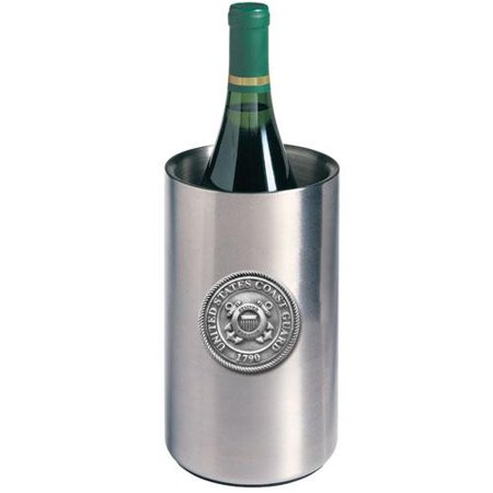 Coast Guard Wine Chiller   Double Wall Insulated Stainless Steel   Detailed Fine Pewter Medallion   1 Piece