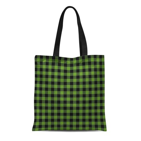SIDONKU Canvas Tote Bag Black Green Buffalo Plaid Check Checkered Flannel Holiday Lumber Reusable Shoulder Grocery Shopping Bags (Check Canvas Tote)