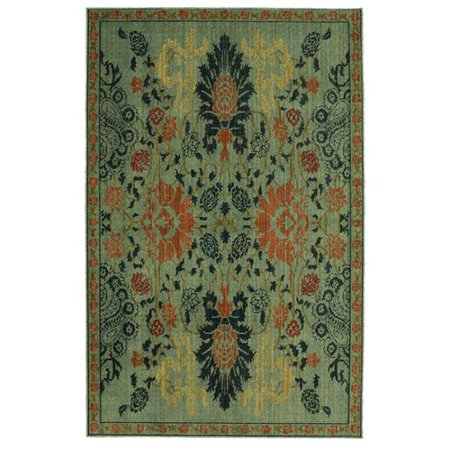 Karastan Vintage Tapis Paris Garden Aquamarine by Patina Vie Hand-Knotted Red/Gold Area Rug