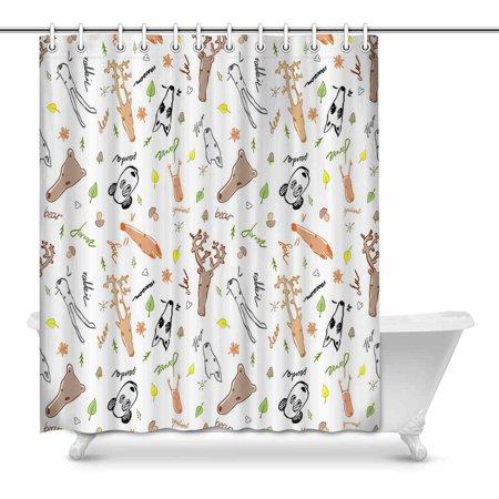 Mkhert Cute Animals Doodle Bathroom Shower Curtain 60x72 Inch