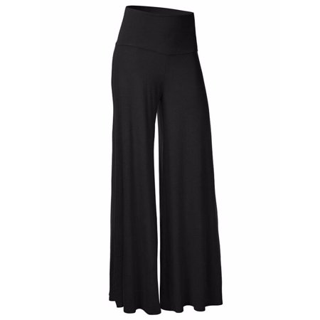 Fittoo Women's Comfy High Waist Fold Over Wide Leg Palazzo (2010 Empire Ltd Pants)