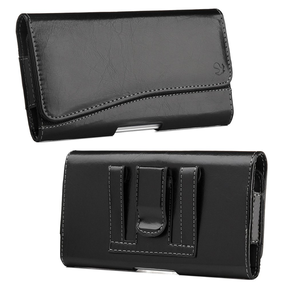 iPhone X Case,Premium Leather Horizontal Pouch Carry Case Belt Clip Cover (Shockproof, Raised Bezel,Lightweighted) for iPhone X -Black