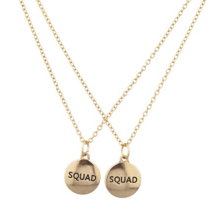 Lux Accessories Gold Tone Squad Best Friends Forever BFF Charm Necklace Set