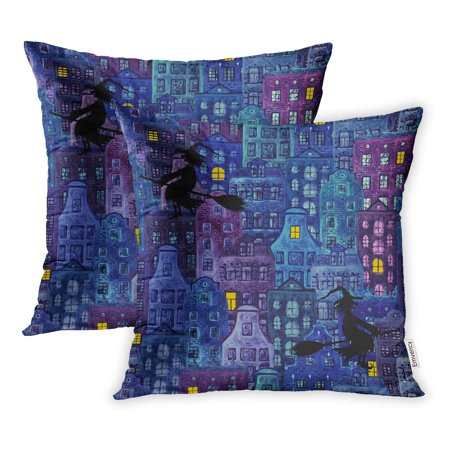 ECCOT Halloween Night City Watercolor European Amsterdam Houses and Black Silhouettes Pillowcase Pillow Cover 16x16 inch Set of 2](Abc Halloween Party Amsterdam)