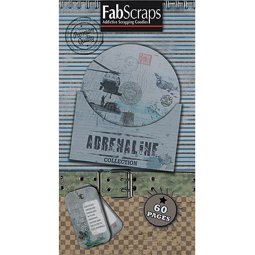 Fabscraps Adrenaline Journal Tags, Shapes & Pages, 8 inch x 4 inch, Pad, 60 Sheets