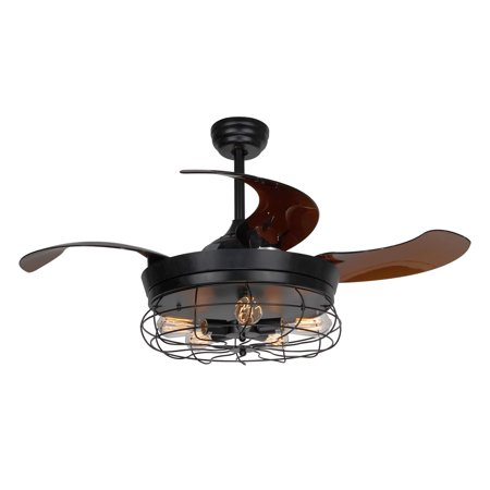 Black Finish Traditional Ceiling Fans - Industrial Ceiling Fan With Foldable Blades,Black