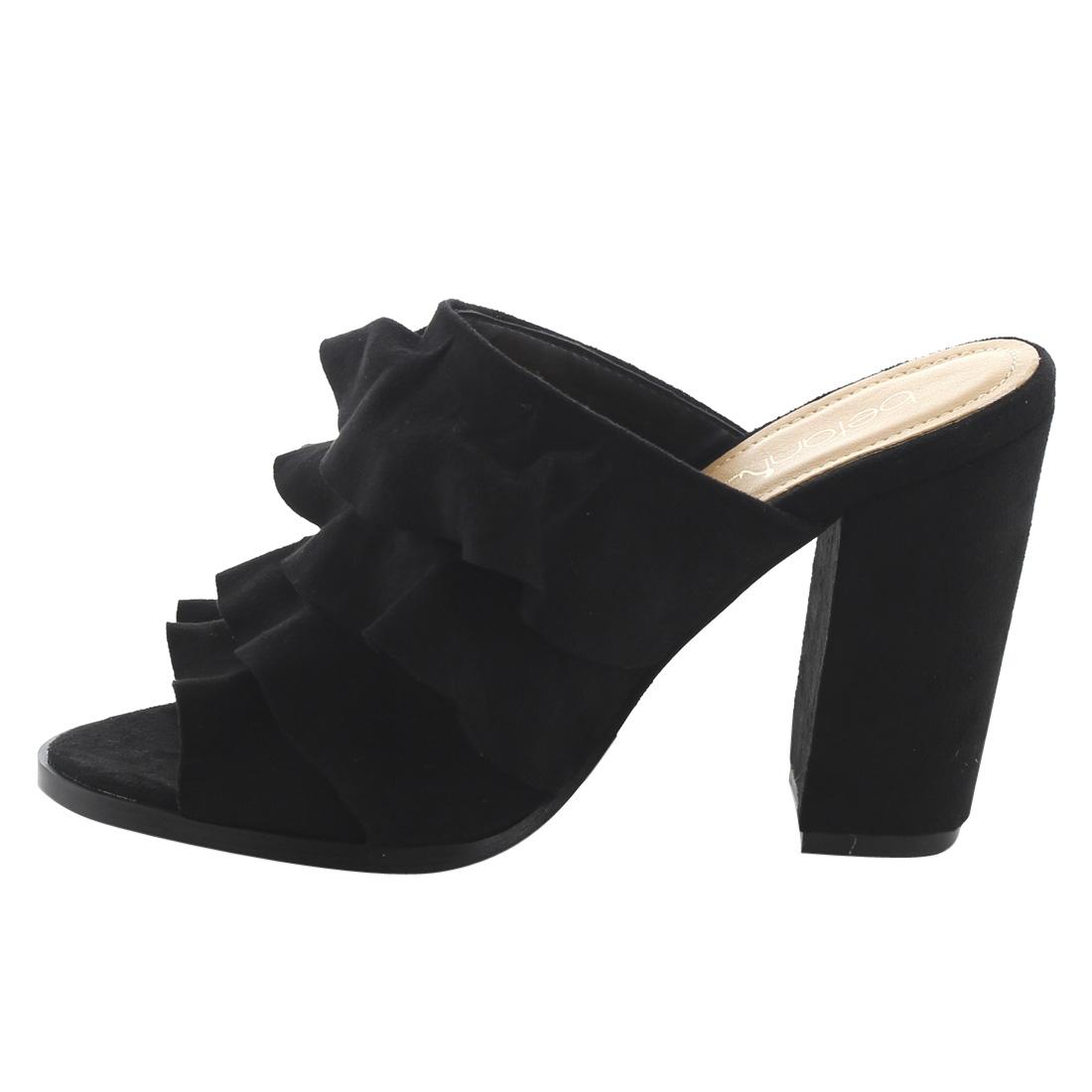 0a8b2ebe76 BETANI - BETANI FK51 Women s Peep Toe Ruffles Slip On Block Heel Mule  Sandals - Walmart.com