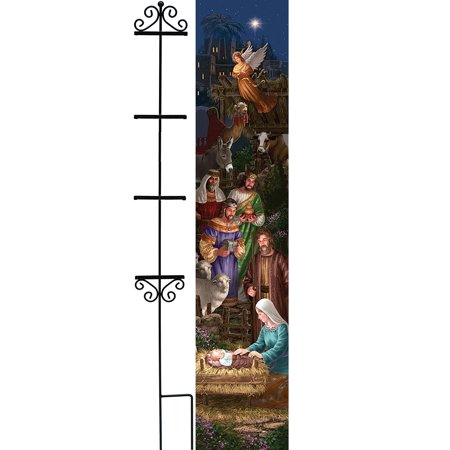 Custom Décor Christmas Angel Nativity Yard Art Panel and Wrought Iron 56 inch Stand Set](Nativity Yard Sets)