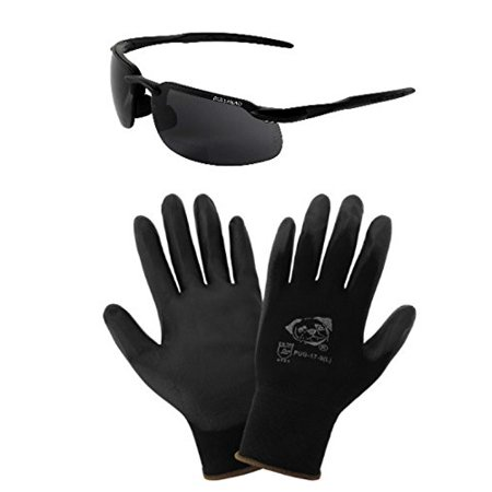 Global Glove PUG17 Polyurethane/Nylon Work Gloves, Medium, and Bullhead BH106315 Swordfish Safety Readers Glasses with Smoke Lenses (Prescription Work Glasses)