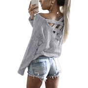 DYMADE Women's Cut Out Loose Pullover Criss Cross Backless Sweater Shirt Top