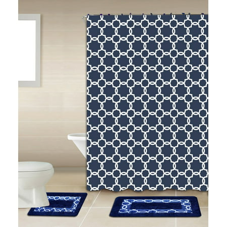 Galaxy navy blue white chain 15 piece bathroom accessory for Navy and white bathroom accessories