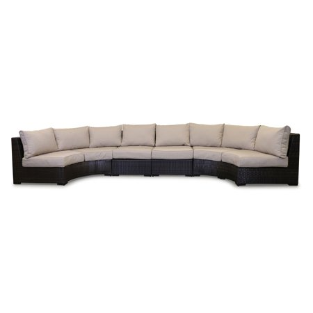 Shoreline Rattan Southport Wicker 4 Piece Curved Outdoor Sectional