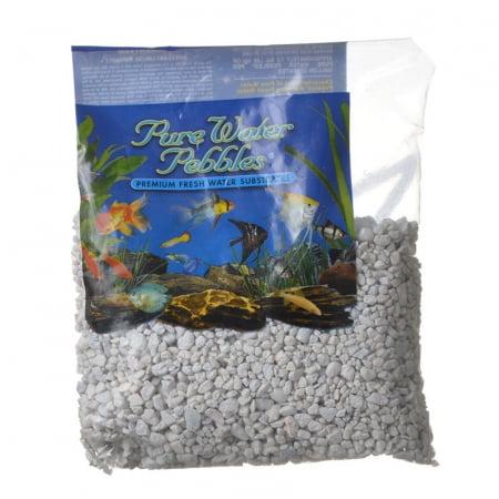 Pure Water Pebbles Aquarium Gravel Snow White - 2 lbs - (Grain Size 3.1-6.3 mm)