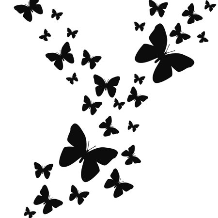 butterfly wall decals- black peel & stick wall decor stickers