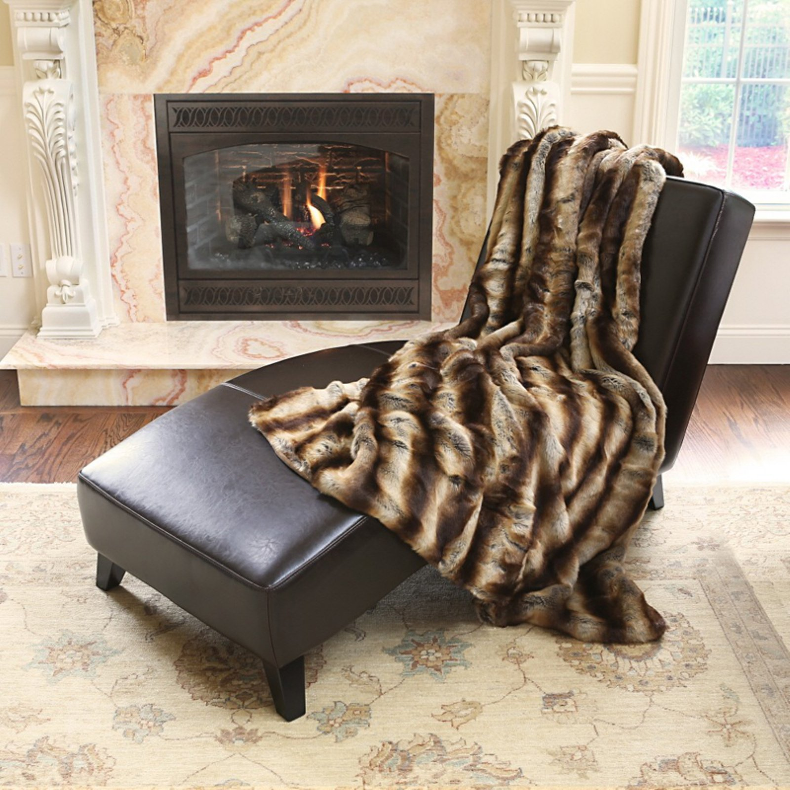 Best Home Fashion Long Hair Faux Fur Throw Blanket