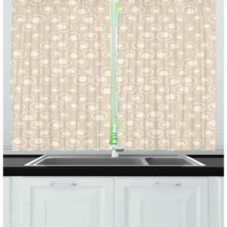 Tan Curtains 2 Panels Set, Spotted Dotted Display Bubble Forms Water Inspired Abstraction Circular Composition, Window Drapes for Living Room Bedroom, 55W X 39L Inches, Tan Eggshell, by (Water Spots On Car Windows Wont Come Off)