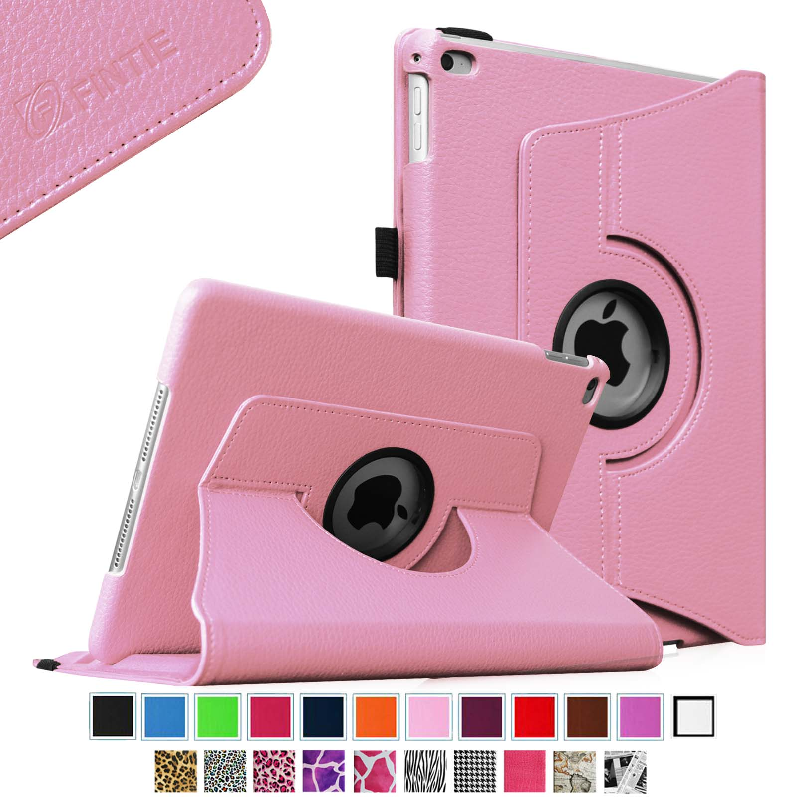 Fintie iPad Air 2 Case - 360 Degree Rotating Stand Case with Smart Cover Auto Sleep / Wake Feature, Pink