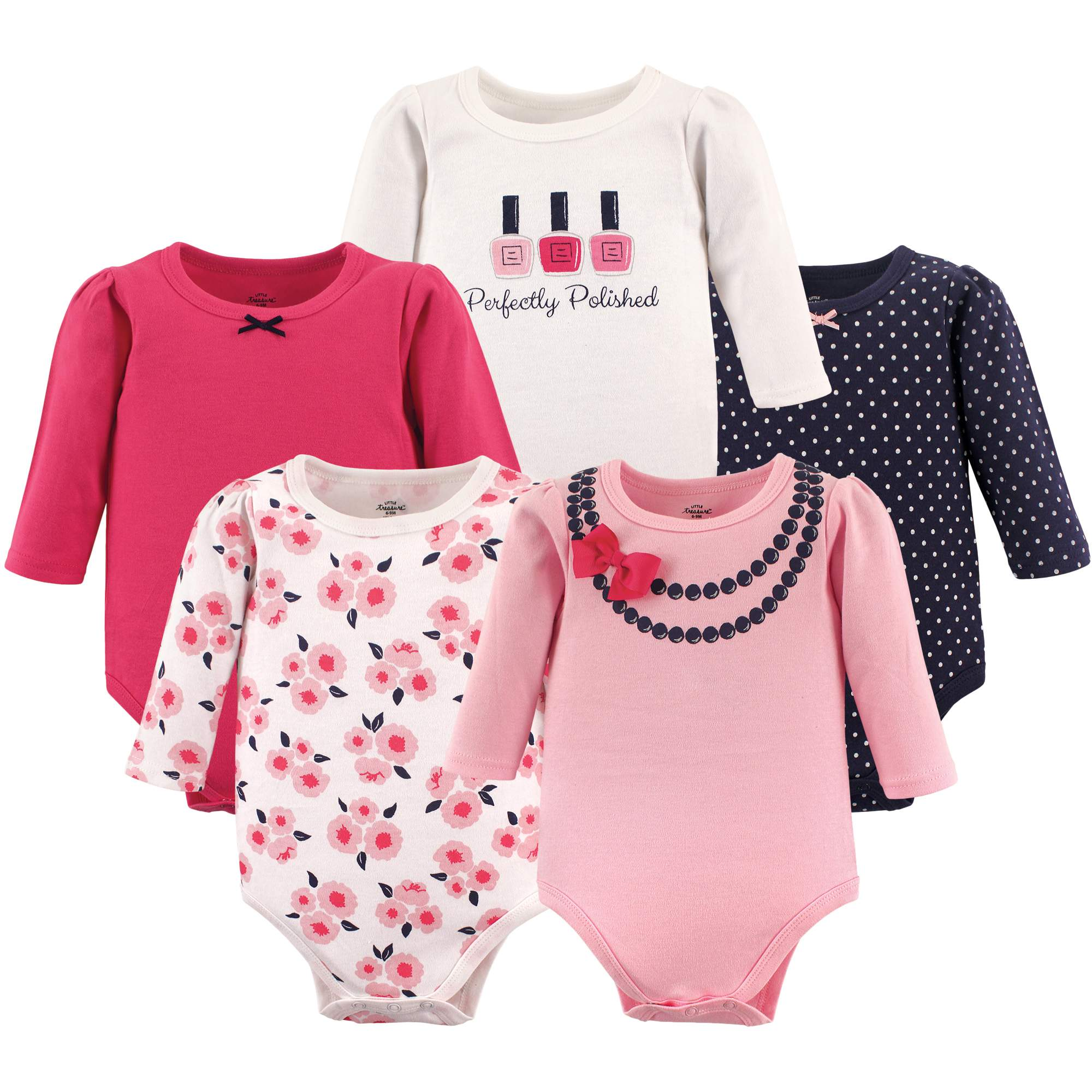 Little Treasure Baby Girl Long Sleeve Bodysuits, 5-pack