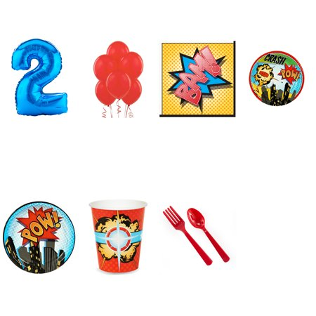 Superhero Comic Books 1st birthday supplies party pack for 16 - Superhero Themed Party