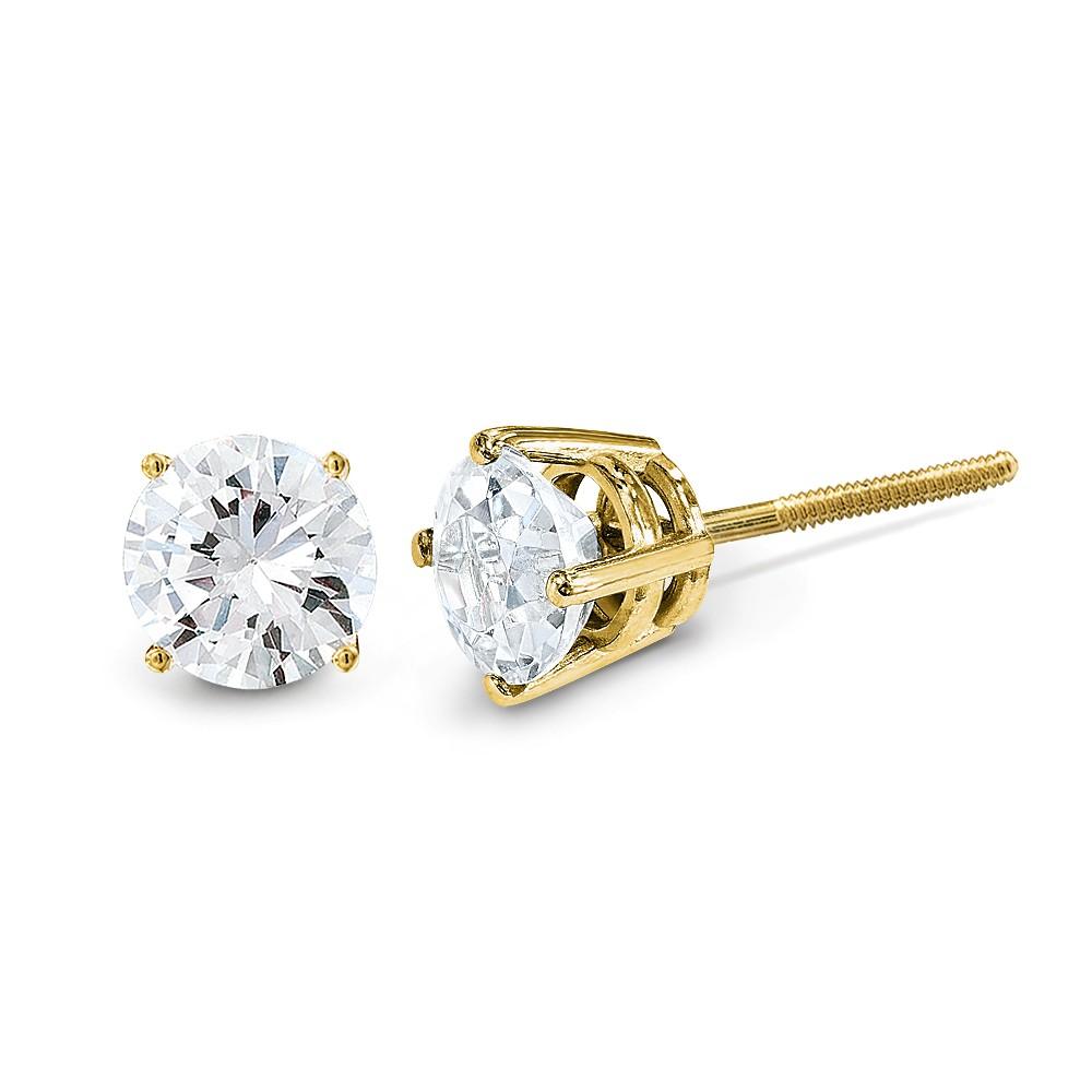 14k Yellow Gold .70ct. SI3 G-I Diamond Stud Earrings. Carat Wt- 0.7ct (4.4MM)