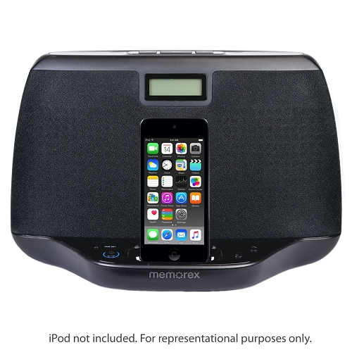 Refurbished Memorex MI3021BLK Compact Audio Speaker System For iPod W/Clock & 3.5mm Aux Jack