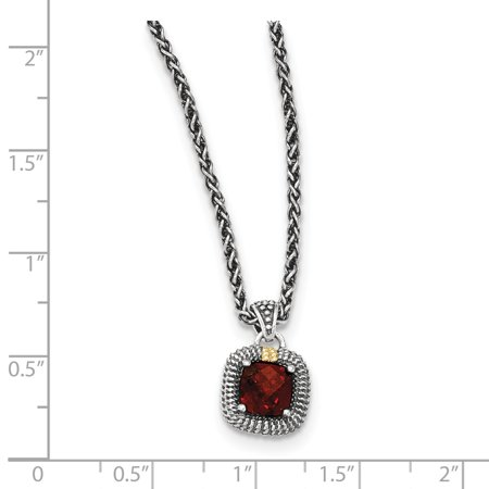 Sterling Silver Two Tone Silver And Gold Plated Sterling Silver w/14ky Garnet Necklace - image 1 de 2