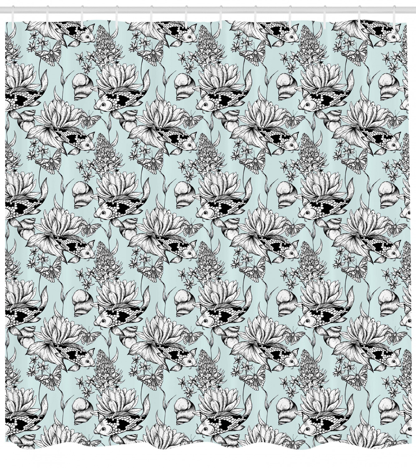 Shabby Chic Shower Curtain Vintage Monochrome Pond Water Flowers Lily Carp Snail Twigs Artwork Fabric Bathroom Set With Hooks Baby Blue Black