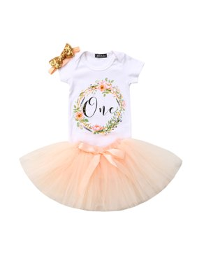 3PCS Boby Girls 1st Birthday Outfits Short Sleeve Bodysuit Romper+Tutu Skirt And Headband