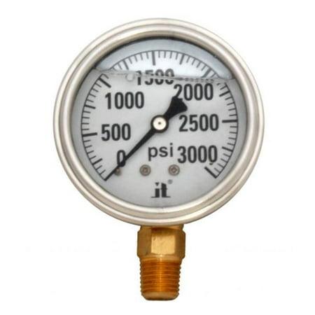 600 Psi Pressure Gauge - Zenport LPG3000 3000 psi Glycerin Liquid Filled Pressure Gauge