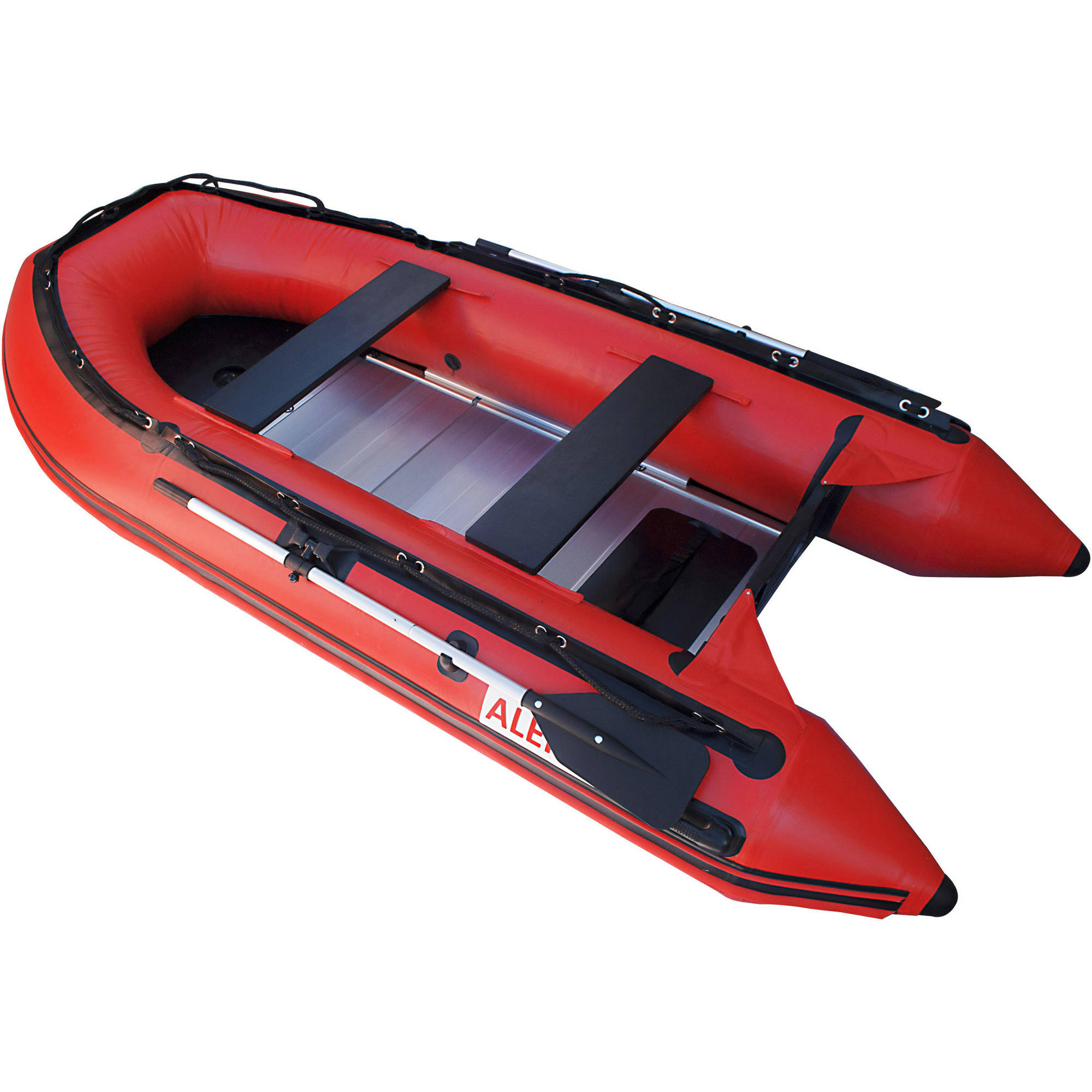 ALEKO Boat 12.5' Inflatable Boat with Aluminum Floor Heavy Duty Design, Red by ALEKO