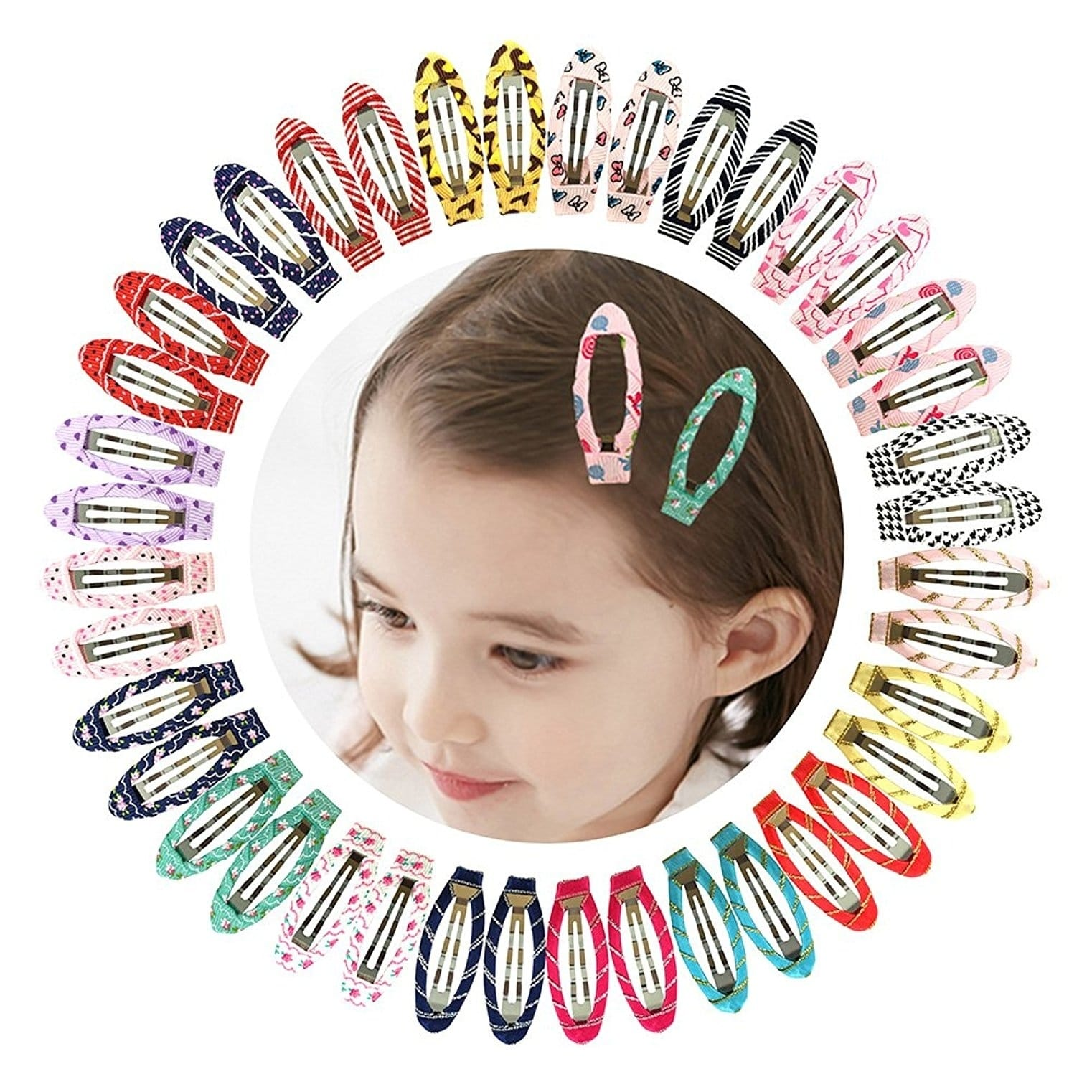 "2"" Snap Clips No Slip Wrapped Hair Barrettes for Girls, 40pcs"