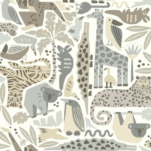 York Wallcoverings DW2302 56 Square Foot - Jungle Puzzle - Pre-Pasted Non-Woven