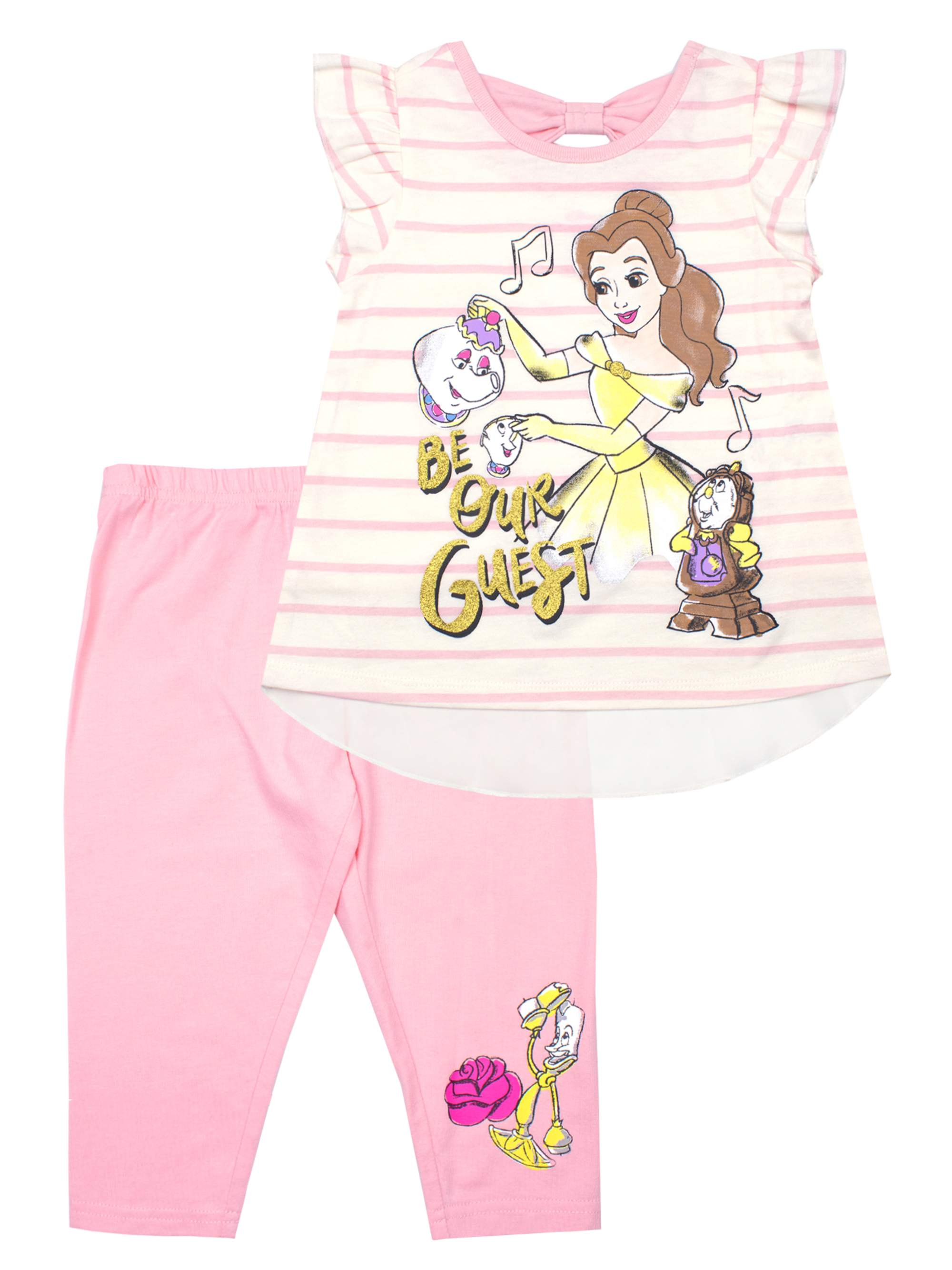 Striped Chiffon Back Top and Capri Legging, 2-Piece Outfit Set (Little Girls)